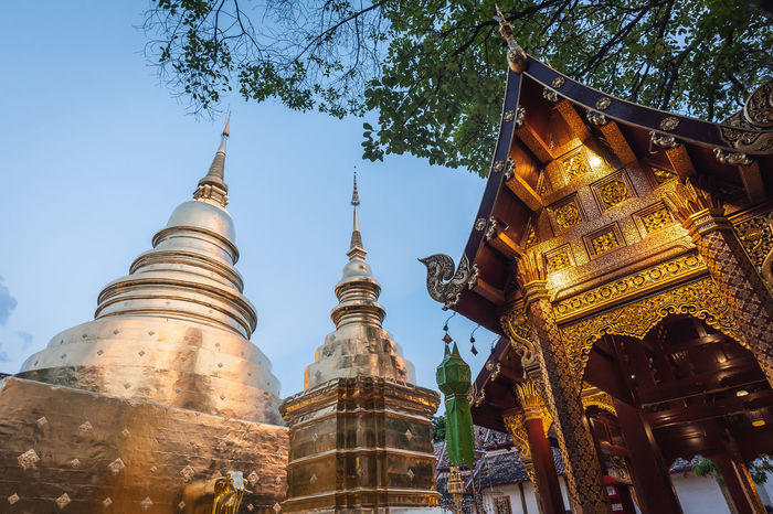Golden pagoda in Phra Singh temple. Chiang Mai, Thailand. Buddhist Chiang Mai | Thailand Chiangmai Pagoda Phra Singh Phra Singh Temple Worship Architecture Buddhist Temple Building Exterior Built Structure Chiang Mai Temple Golden Pagoda Low Angle View Place Of Worship Religion Shrine Temple Travel