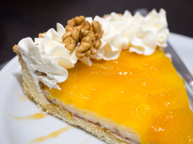 Brown Cake Chantilly Chocolate Close-up Cream Dessert Food And Drink Lemon Pie Nuts Plate Unhealthy Eating White Yellow