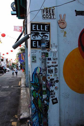 Street Art Urban Art Stickerbomb Graffiti Art World Heritage Georgetown Penang Malaysia South East Asia