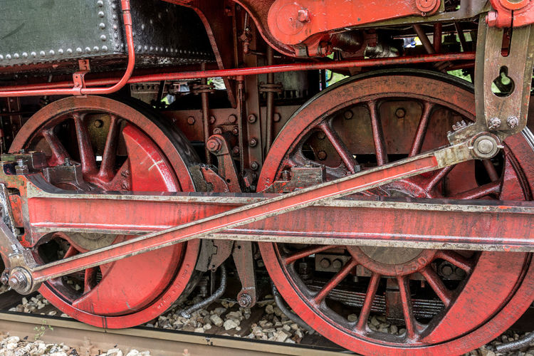 Close up of huge steam locomotive wheels Close-up Day Design Detail Engineering Focus On Foreground Machine Part Machinery Metallic No People Old Ornate Part Of Red Retro Travel Wheeel Wheel