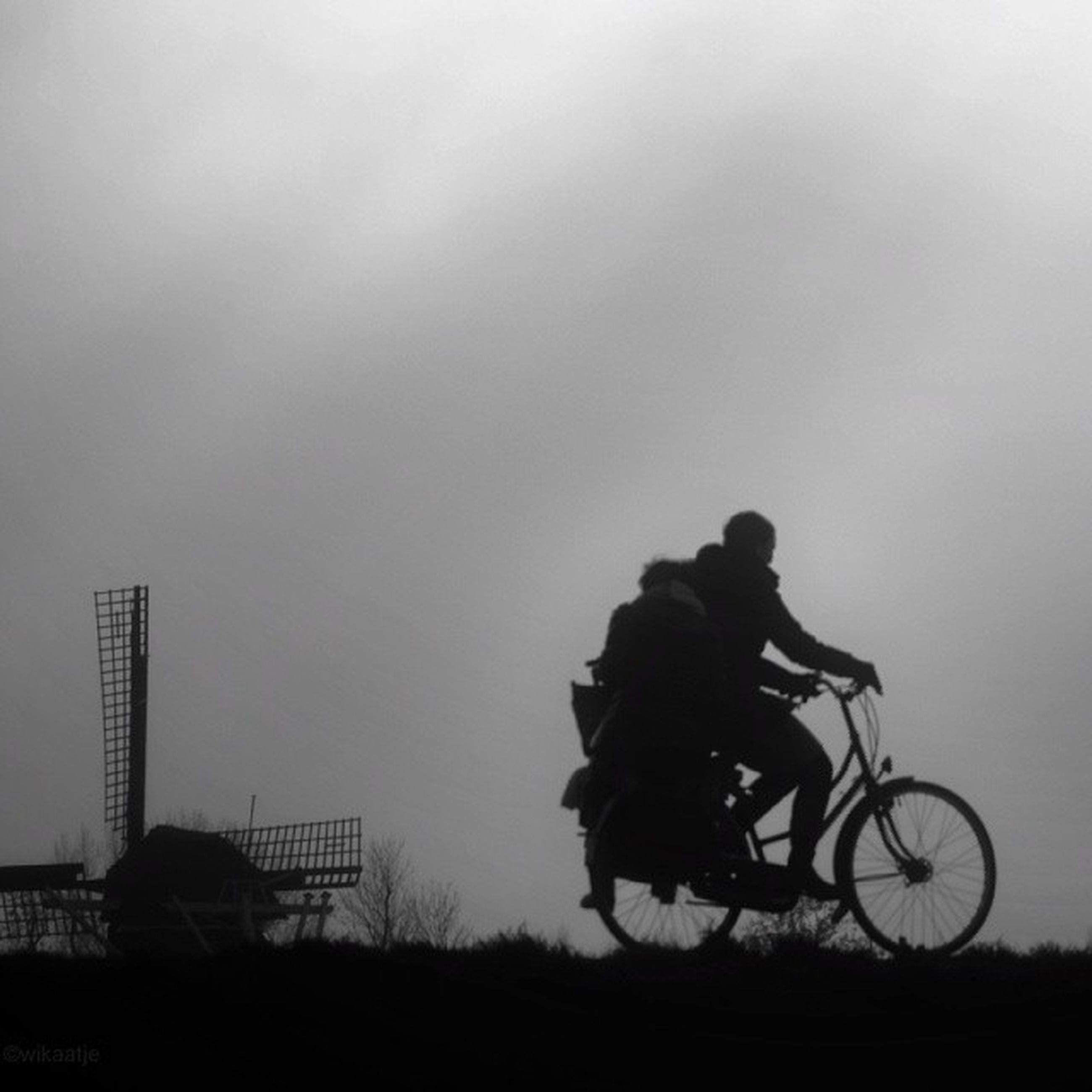 bicycle, men, land vehicle, riding, lifestyles, leisure activity, mode of transport, transportation, silhouette, full length, cycling, copy space, sky, side view, rear view, togetherness