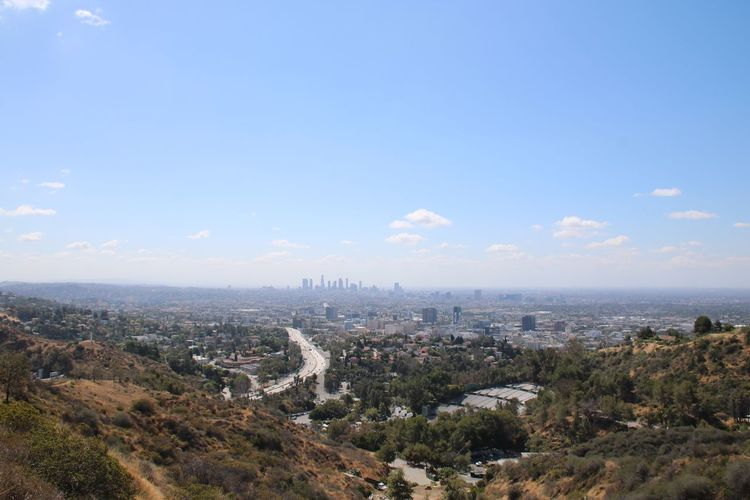 Skyline from the Hollywood Hills to Los Angeles 2016 Losangeles Skyline Hollywood Hills Cityscape California Canon Hobbyphotography EyeEmNewHere Resist