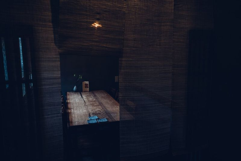 Light falling on a table at a Japanese restaurant Mood Table Window Light Light Restaurant Decor Restaurant View Japan Photography Japan Indoors  Illuminated Window Dark Light Domestic Room
