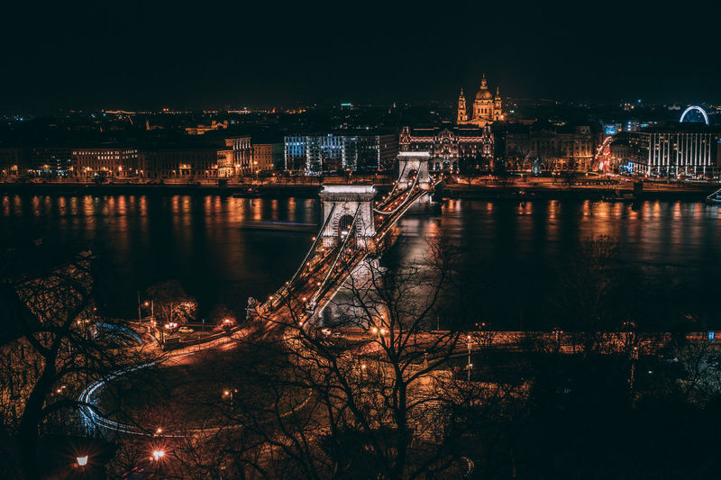 High angle view of szechenyi chain bridge over river against clear sky at night