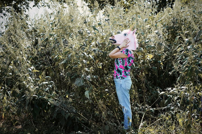 Worried Nature Green Unicorn Unicorn Head One Person One Woman Only Full Length Standing Hood Casual Caucasian Growing