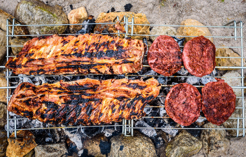 Autumn leaves on barbecue grill