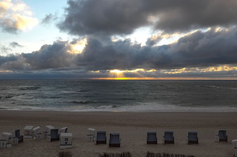 Sylt Sylt, Germany Sylt Strand Beach Horizon Over Water Sand Sky Sea Sunset Cloud - Sky Beauty In Nature Nature Tranquility Shore Water No People Outdoors Wave Tranquil Scene Beach Photography Beach Northsea Beautiful Nature Strandkorb Kampen