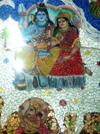 Lord Shiva Maa Parvati Lord Ganesha Mount Kailash Temple Glass Painting Wall Painting Chandigarh