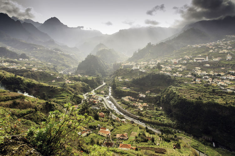 Aerial View Beauty In Nature Cloud Day Elevated View Green Color Growth Hill Horizon Over Land Idyllic Landscape Lush Foliage Madeira Island Mountain Mountain Range Nature No People Non-urban Scene Outdoors Remote Sao Vicente Madeira Scenics Sky Tranquility Valley