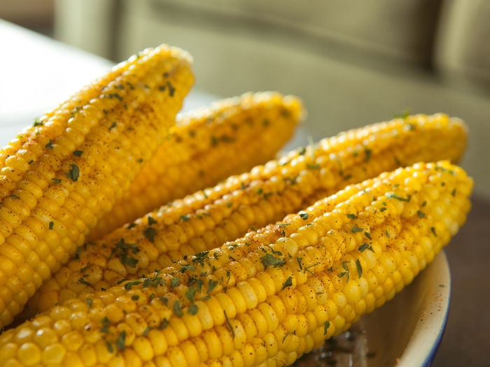 Close-Up Of Corn On Table