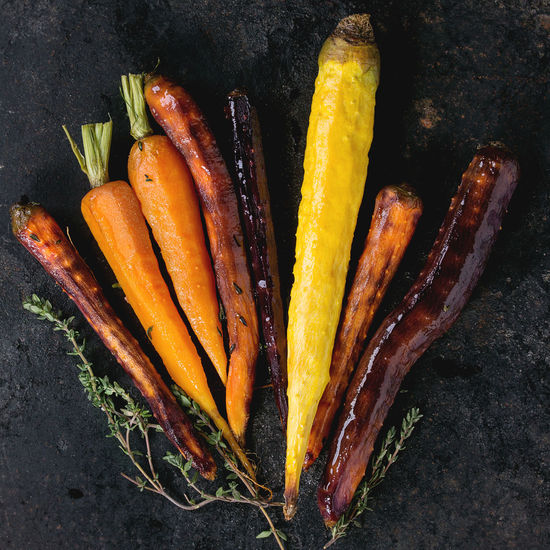 Black Backround Dark Dinner Time Herbs Baked Carrots Carrot Carrots Colorful Vegetables Colors Of Food Different Directly Above Food Grilled Vegetables Healthy Eating Healthy Food Root Vegetable Top View Of Food Variation Variety Vegan Food Vegetables Veggies Yellow Carrots