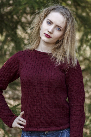 Portrait of young girl. One Person Portrait Beautiful Woman Women Hair Hairstyle Long Hair Young Adult Looking At Camera Sweater Adult Blond Hair Leisure Activity Front View Teenager Warm Clothing Contemplation Outdoors Beauty Milenials Young Women Clothing The Portraitist - 2019 EyeEm Awards
