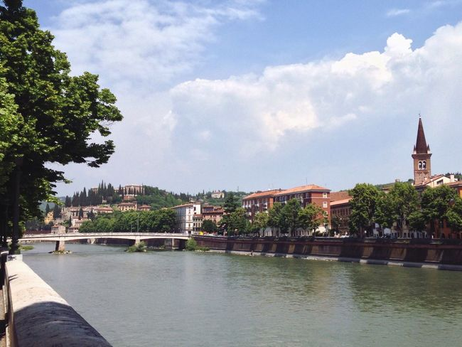 143/365 May 23 One Year Project 2017 Verona Italy Adige River Veneto Architecture Built Structure Building Exterior Sky Bridge - Man Made Structure Cloud - Sky River Connection Outdoors Tree City Day History Water Travel Destinations Cityscape No People Chain Bridge