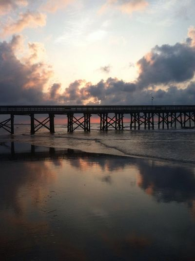 My serenity Water Sunrise reflection Pier morning Sky Bridge - Man Made Structure Sea Peace And Quiet Creation Isle Of Palms