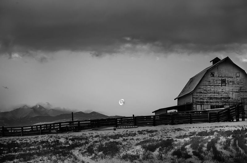 Moon setting over farm. Black And White Black And White Farm Cold Temperature Dawn Dawn On The Farm Farm Moon Moonset Old Farm Snowy Farm Barn Barns Ranch Ranch Life Colorado Wildwest Coloradophotographer Coloradorockies The Great Outdoors - 2016 EyeEm Awards My Favorite Photo The Great Outdoors With Adobe Fine Art Photography