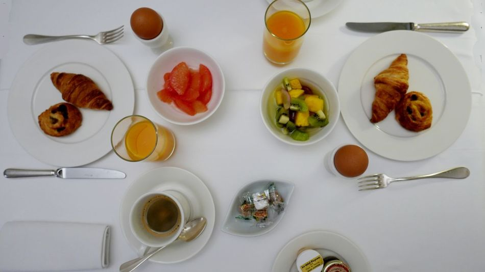 Table set with breakfast for two persons France Breakfast Viennoiserie At The Hotel Having Breakfast Croissants Meal Set Table At Table Time For Breakfast