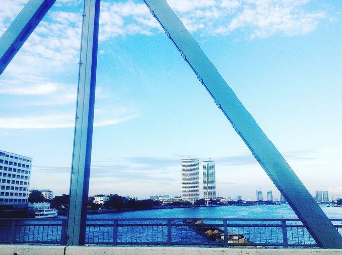 BLUE SKY Krung Thon Bridge Bangkok , Thailand