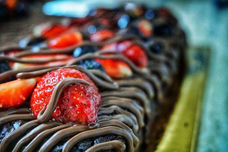 Close-up of strawberry dessert