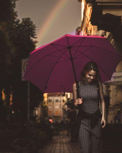 The Fashion Photographer - 2018 EyeEm Awards Budapest Magenta Fashion Streetphotography Umbrella Rainbow Goldenhour
