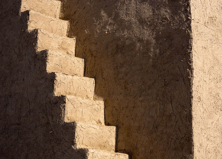 Stairs Architecture Building Exterior Built Structure China Close-up Day Mud No People Shadow Silk Road Tecture Travel Destinations