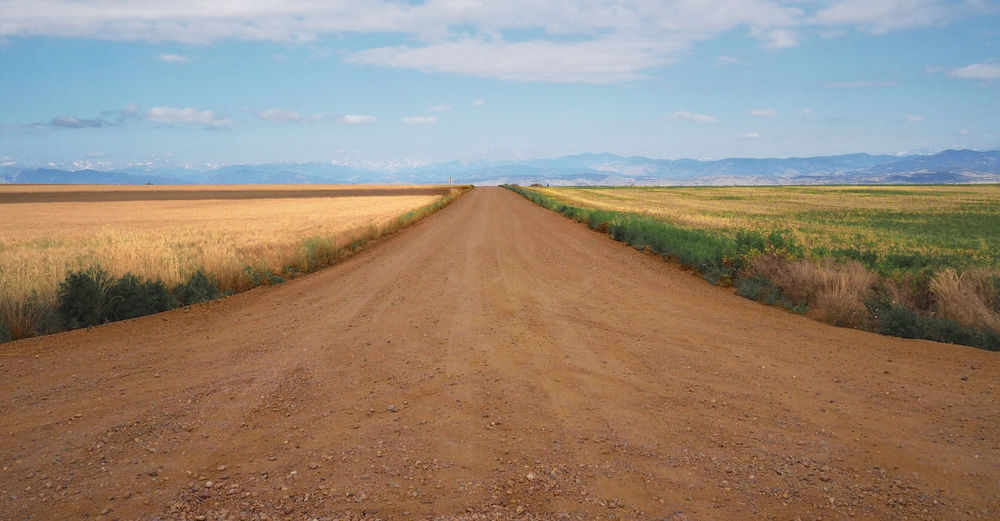 Dirt road amidst field against sky