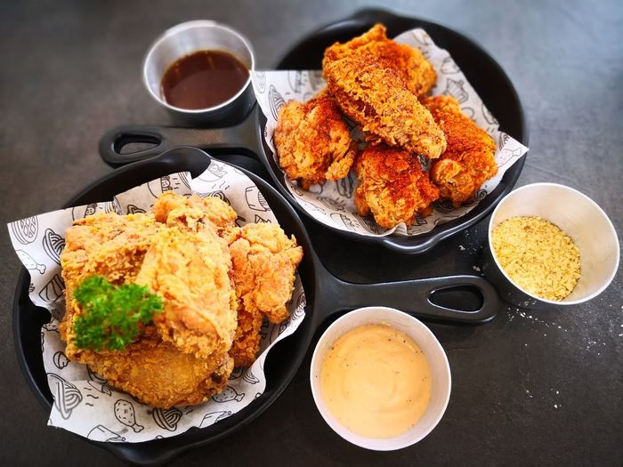 Chickens Chicken Fried Plate Table Food And Drink