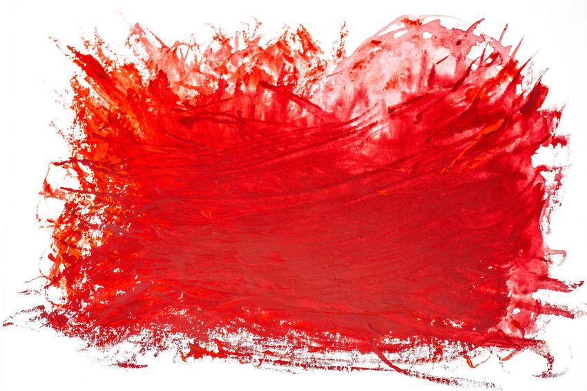 Abstract Textured  Background Red White Background Studio Shot Indoors  Close-up No People Cut Out Paint Splashing Water Ink Messy Stained Drop Blood Shape Textured  Pattern Watercolor Paints Aggression