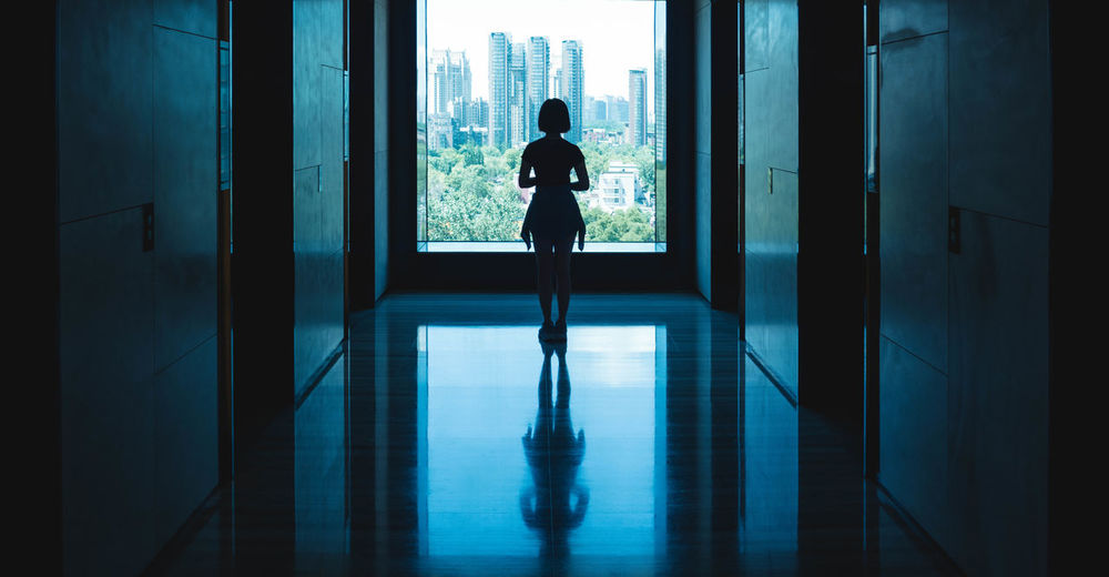Window Silhouette One Person Indoors  Full Length Adult Day Panoramic Photography Cinematography Panorama Urban Skyline Beijing BEIJING北京CHINA中国BEAUTY