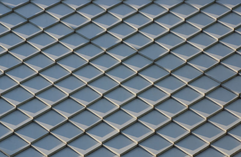 Full Frame Pattern Backgrounds Repetition No People Shape Design Metal Indoors  Day Geometric Shape Architecture Built Structure Close-up Low Angle View Window Blue Glass - Material Sky