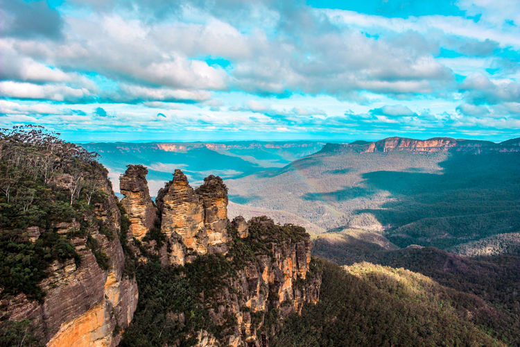 Australia Beauty In Nature Bluemountains Cloud - Sky Day Extreme Terrain Katoomba Katzen Landscape Mountain Mountains Mountains And Sky Nature No People Outdoors Rock - Object Scenics Sky Summer Travel Destinations