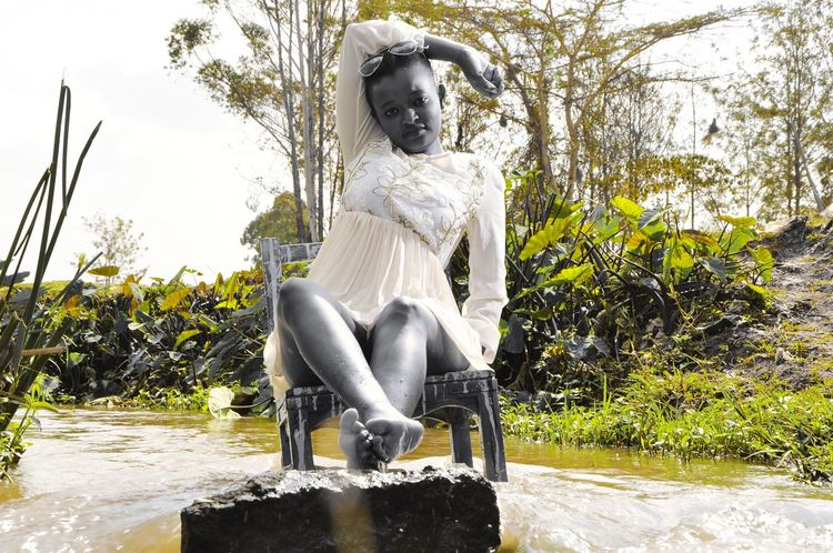 A day at the river all bad energy flows downstream #Rivertherapy Nairobi Kenya Spirituality River Serenity African Sculpture Statue Water Outdoors Day Sitting Spraying Shades Of Winter