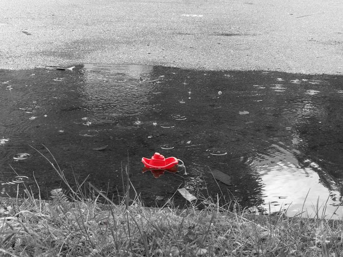 Red Boat in a Puddle Accentcolor