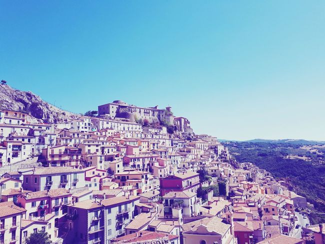 Hometown in August at MuroLucano.Lucania.pz.Italy Sky Blue Clear Sky No People Outdoors Mountain Nature Panoramic Townphotography