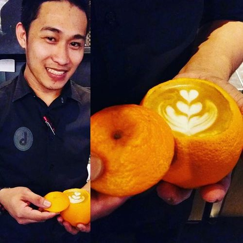 Orangelatte Coffeepouring Coffeetime Coffeeart Creativephoto