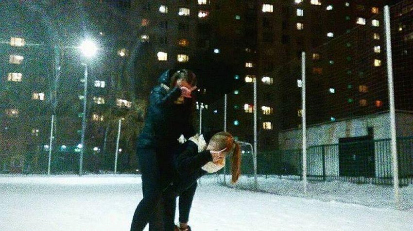 Two People Night Ftiends Street Walk Winter LOL Happy жесть