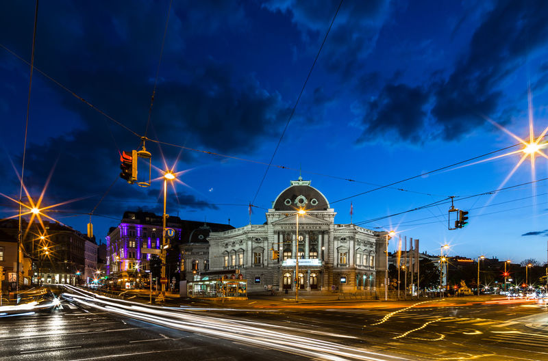 Volkstheater Architecture Blue Blue Hour Built_Structure City City Life Cloud Cloud - Sky Cloudy Dramatic Sky EyeEm Best Shots Illuminated Light Trail Long Exposure Night Night Photography No People Outdoors Sky Street Light The Way Forward Traffic Need For Speed Cities At Night capturing motion Welcome To Black Neighborhood Map Let's Go. Together. Mobility In Mega Cities Colour Your Horizn