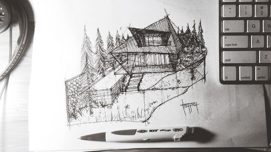 you are always in my mind.. Sketch Drawing Architecture Doodling Black & White Blackandwhite Jheffryswid Design House Design Eye4photography