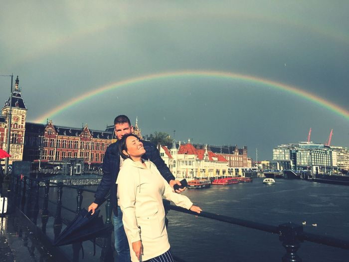 Amsterdam IPhoneography Autumn EyeEmNewHere Rainbow City Sky Building Exterior Architecture Built Structure Nature Cloud - Sky Two People Real People Warm Clothing EyeEmNewHere Autumn Mood