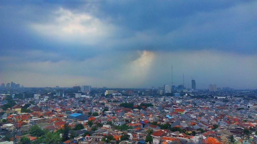 Cloud in the city Jakarta Indonesia INDONESIA Tanjung Priok City Cityscape Urban Skyline Skyscraper Storm Cloud Downtown District High Angle View Sky Architecture Building Exterior