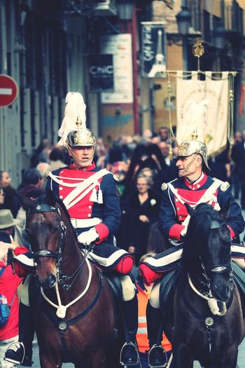 SPAIN Animals Horses Clothing Real People City Street Celebration Focus On Foreground Architecture Hat People