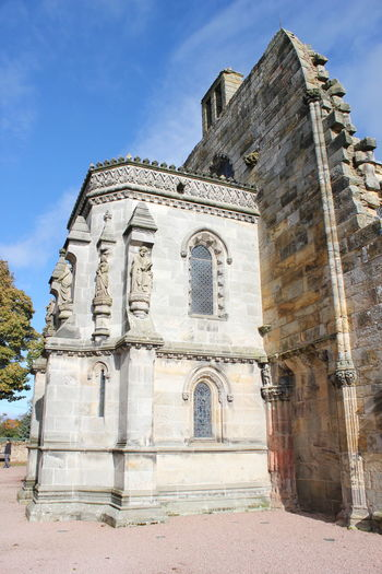 Ancient Architecture Blue Building Exterior Day Edinburgh History No People Old Ruin Outdoors Place Of Worship Religion Rosslyn Chapel Scotland Sky Spirituality