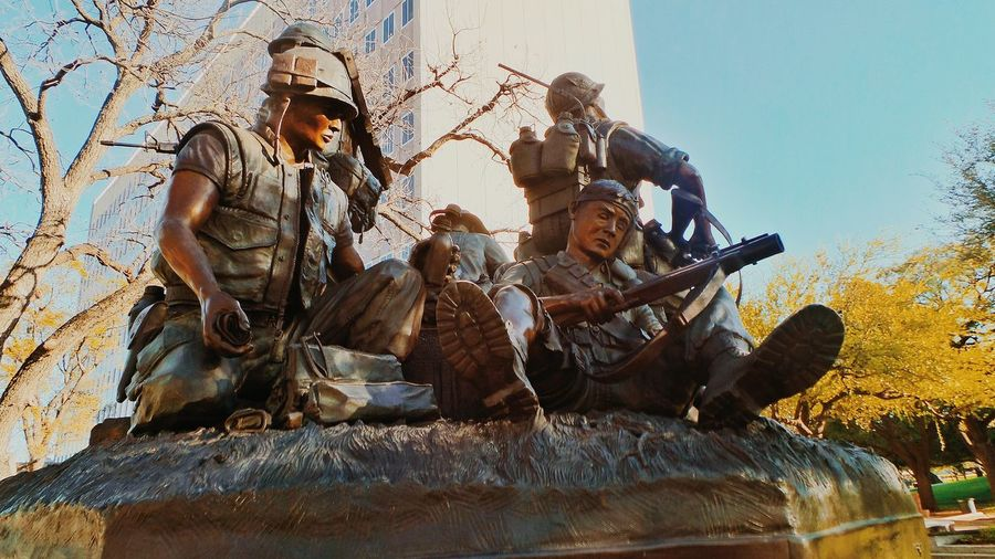 Caught in the fray. Soldier Army War Battle Caught Fray United States Travel Adventure Historic Architecture Downtown Austin Day Texas Capitol State Education Outdoors History Low Angle View Beauty Life View Family