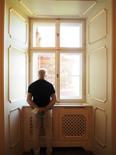 Adult Casual Clothing Contemplation Day Home Interior Indoors  Looking Through Window Males  Men One Person Posture Rear View Standing Stately Sunlight Window