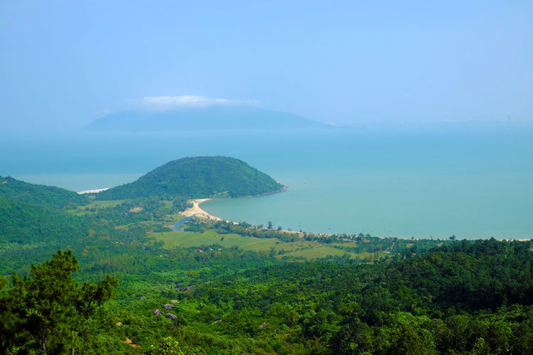 Beautiful landscape of Lang Co beach from Hai Van mountain pass, wonderful shape of nature with green jungle, place for eco travel at Hue, Vietnam is country of sea with long seaside ASIA Asian  Beach Da Nang Danang Forest Green Hai Van Hai Van Pass Haivan Huế Jungle Lang Co Beach Mountain Pass Mountains Nature Panorama Sea Sea View Seascape Seaside Travel Viet Nam Vietnam Vietnamese