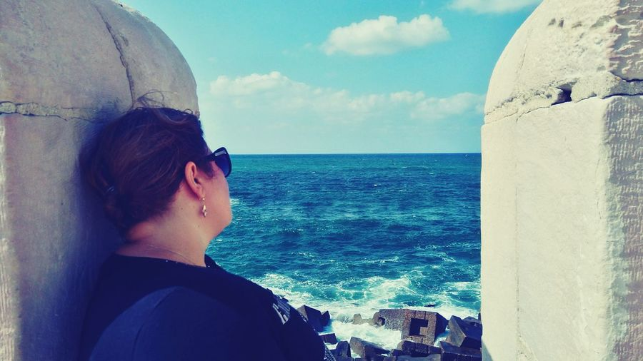 Watching Woman Watching The Sea Eyeem Women Single Woman Nostalgic  Relaxing
