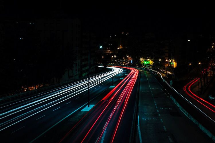 Luzes da vida Illuminated Night Transportation Long Exposure Motion Light Trail Architecture Road Speed City The Way Forward City Life Built Structure Direction High Angle View Lighting Equipment Blurred Motion No People Mode Of Transportation Street