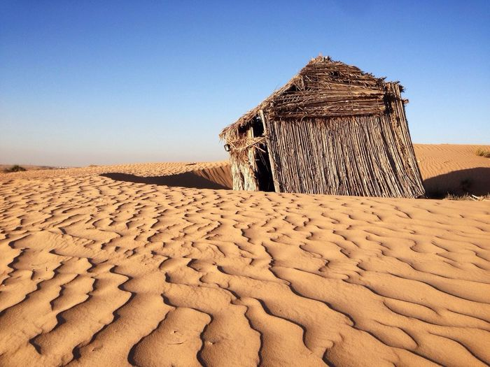 Hut In Desert Against Clear Sky