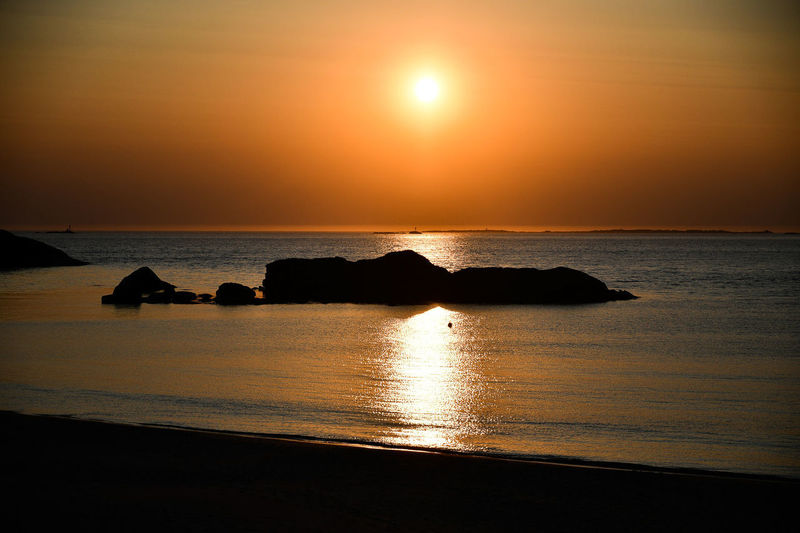 Water Sea Sky Sunset Horizon Over Water Scenics - Nature Horizon Tranquil Scene Land Tranquility Beauty In Nature Beach Sun Idyllic Nature Reflection Silhouette No People Orange Color Outdoors