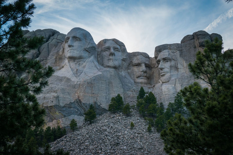 Low angle view of mount rushmore national memorial against sky