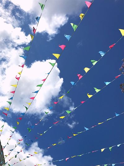 Eye catching angle Low Angle View Bunting Against The Blue Sky And Clouds Falmouth Town Cloud - Sky Bunting Outdoors No People Holiday Destination Day Out With Family Lines And Shapes Backgrounds Full Frame Cornwall Uk Breathing Space The Week On EyeEm Lines